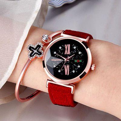 72874/星空手表抖音同款皮带学生ins网红女吸铁石磁铁表带懒人潮流韩版