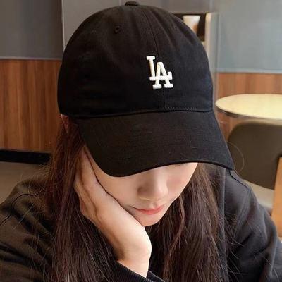 NY棒球帽子女新款百搭夏季遮脸透气LA鸭舌帽男软顶出游遮阳防晒帽