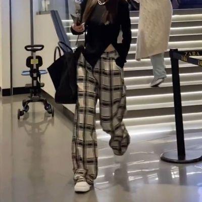 杏色格子阔腿裤女2021新款学生韩版直筒宽松显瘦高腰休闲长裤时尚