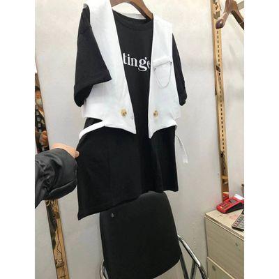 35077/春夏新款韩版宽松中长款短袖T恤+飘带无袖休闲西装马甲两件套装女