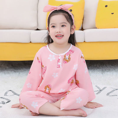 儿童家居服睡衣女童男小孩棉绸长袖薄款中大童宝宝空调服夏季套装