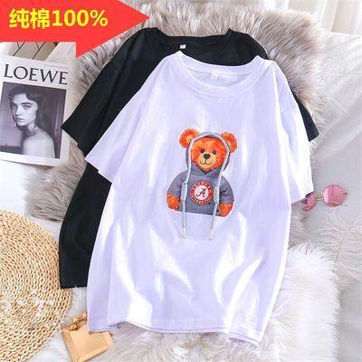 100%纯棉3d短袖女2021夏季欧洲站小熊t恤学生韩版宽松显瘦ins上衣