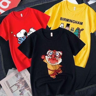 3件套儿童短袖T恤2021新款潮纯棉打底衫中大童圆领宽松春夏男女童