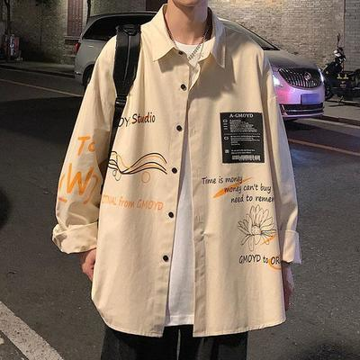 15757/原宿港风春秋季外套男韩版潮流长袖衬衣休闲百搭日系帅气男士衬衫