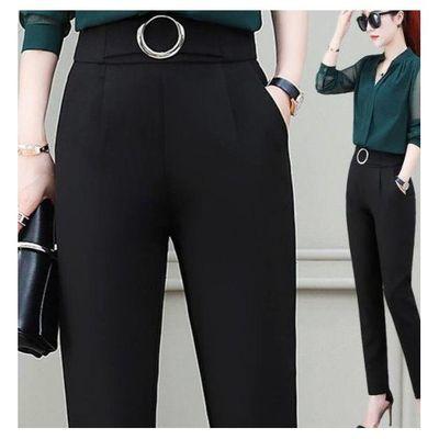 2021夏季新款时尚洋气大码裤子女宽松显瘦高腰松紧休闲西装哈伦裤