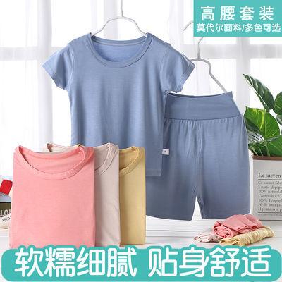 儿童莫代尔短袖套装男童女童夏季家居服睡衣高腰护肚面膜T空调 服