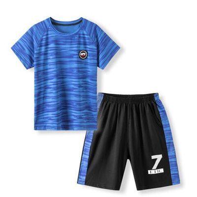 儿童速干衣短袖短裤套夏季男童2021新款洋气运动背心中大童两件套