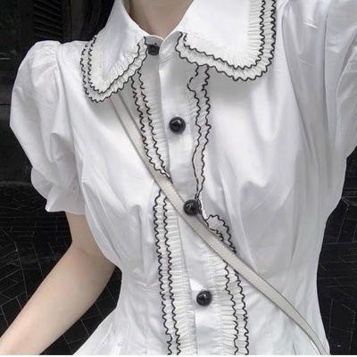 37564/[智熏]法式连衣裙白色娃娃领超仙清新甜美学生收腰在逃公裙仙气
