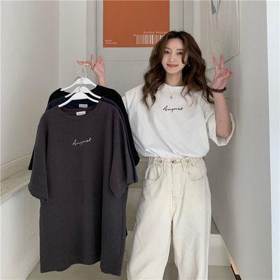 76447/多色可选2021新款韩版宽松印花短袖T恤女ins潮洋气白色打底衫上衣