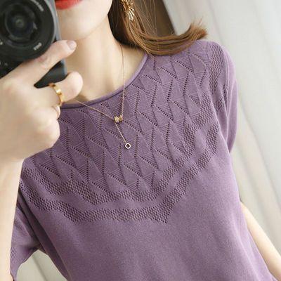 71264/100%纯棉短袖女圆领镂空针织衫21年夏季新款韩版大码半袖t恤上衣