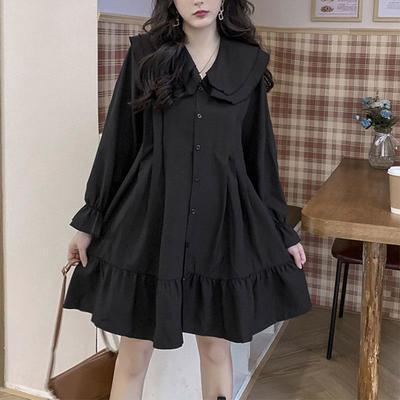34952/2021春夏新款大码宽松娃娃领连衣裙减龄洋气女适合胖子穿的裙子