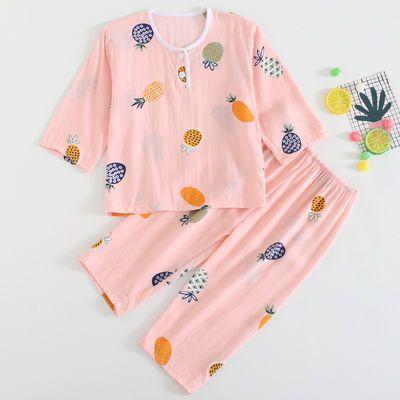夏季儿童棉绸睡衣男童女童小孩宝宝绵绸长袖空调服薄款家居服套装