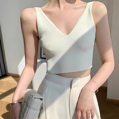 62731/v领白色小吊带背心女短款外穿打底针织高腰内搭露脐上衣夏新品