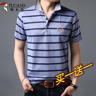啄木鸟男士短袖t恤夏季休闲中青年翻领polo衫宽松半袖体恤爸爸装