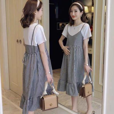 35285/孕妇装夏装套装长款连衣裙2021新款假两件孕妇长裙短袖孕妇上衣服
