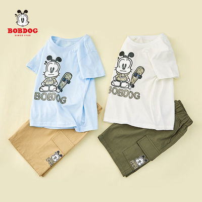 巴布豆童装男童短袖套装工装五分裤休闲两件套中小童2021夏季新款