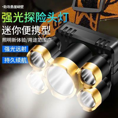 超亮头戴式手电筒LED三头五头灯强光户外家用远射充电夜钓疝气灯