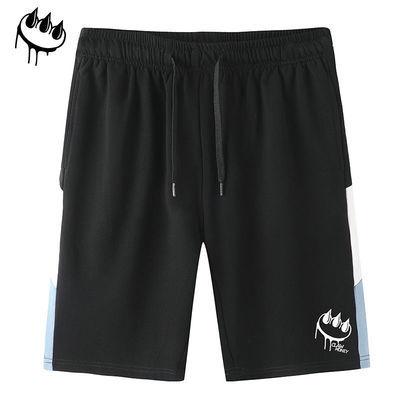 Claw money夏季新款运动休闲短裤男宽松印花直筒五分裤夏天短裤子
