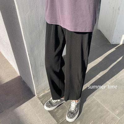 夏季薄款很仙的痞帅休闲裤男士韩版学生直筒运动裤百搭痞帅九分裤