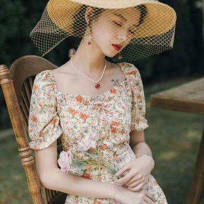 37860/复古法式方领雪纺短袖蝴蝶结系带碎花仙女连衣裙2021新款收腰显瘦