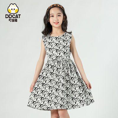 叮当猫女大童裙子夏季2021新款儿童短袖碎花连衣裙高档童装连衣裙