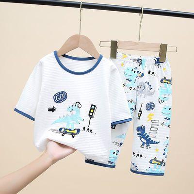 新款儿童睡衣夏季套装纯棉男女童薄款家居服套装宝宝小孩空调服