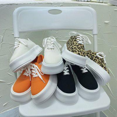 28208/夏季薄款厚底豹纹帆布鞋女2021年新款女鞋爆款运动懒人半踩小白鞋