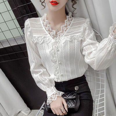 6595/春夏季蕾丝防晒雪纺衫九分袖2021新款韩版V领小心机百搭气质衬衫