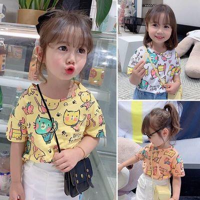 女童新款2021夏装短袖宝宝儿童卡通T恤夏季打底衫童装半袖上衣潮T