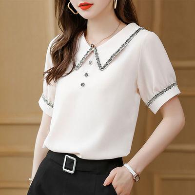 22638/短袖雪纺衬衫女设计感小众2021夏装V领新款韩版时尚洋气小衫上衣