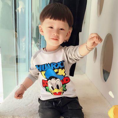 2021新款男童长袖T恤纯棉女童体恤打底衫儿童休闲秋装宝宝上衣潮