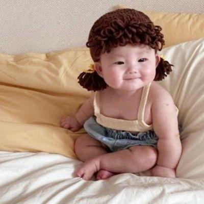 宝宝帽子秋冬款女童可爱超萌假发小辫子针织帽新生儿拍摄道具用品