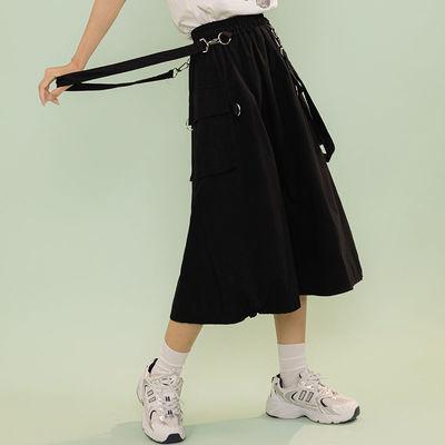 74376/2021夏季女装新款韩版个性松紧腰黑色可拆卸背带中长款半身裙女潮