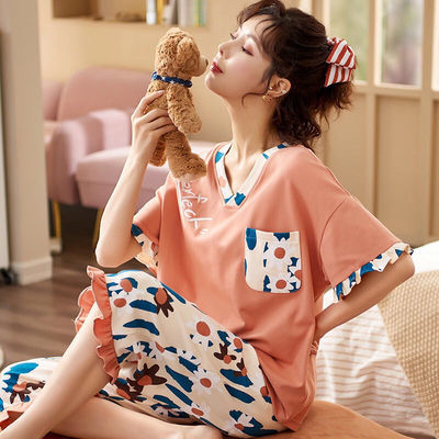 纯棉睡衣女夏季短袖七分裤宽松韩版大码学生女士可外穿家居服套装