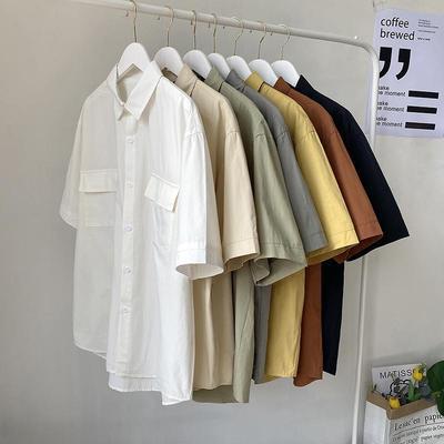 21202/夏季纯色短袖衬衫男宽松日系工装五分袖上衣港风百搭潮流半袖衬衣