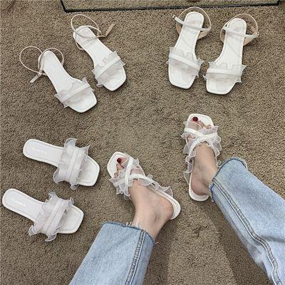 32049/凉鞋2021年新款法式小仙女荷叶边简约白色系搭扣凉鞋外穿拖鞋女鞋