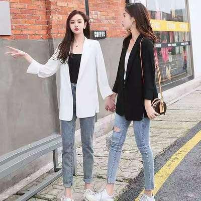 18097/西装外套女薄款韩版宽松中长款雪纺夏季防晒衫七分袖小西服空调衫