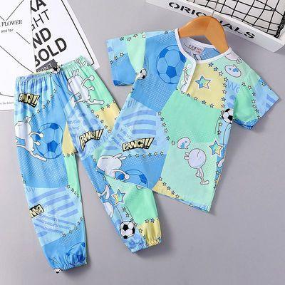 夏季儿童短袖棉绸睡衣薄款男童女童宝宝人造棉男孩绵绸家居服套装