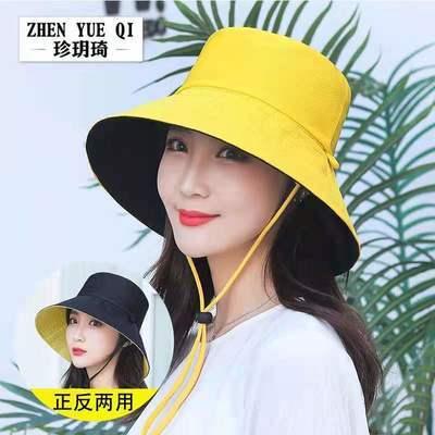 73049/春夏天遮阳双面沙滩帽女士出游渔夫帽防晒大边帽鸟眼布防风绳帽子