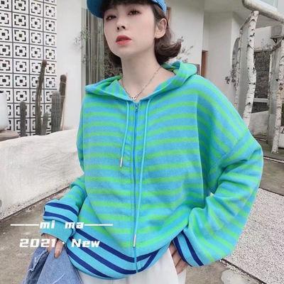 8760/冰丝针织衫女2021春新款韩版显瘦百搭连帽减龄拉链开衫条纹上衣潮