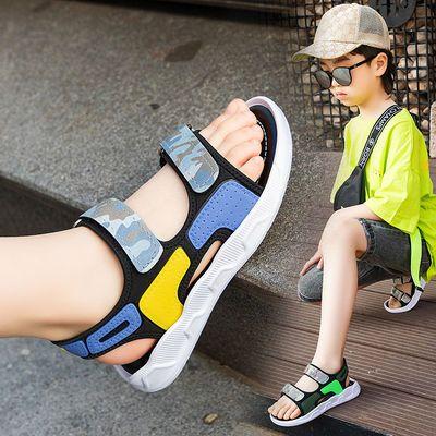 2021年新款儿童凉鞋男夏季防滑软底i沙难凉鞋韩版迷彩男童凉鞋