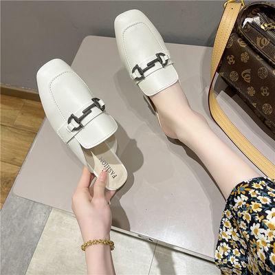 36887/包头半拖鞋女夏外穿百搭凉拖鞋2021新款韩版低跟时尚搭扣穆勒鞋潮