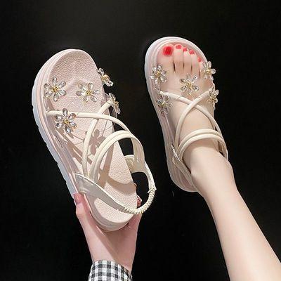 35974/凉鞋女2021年新款仙女风夏季厚底增高青年女鞋韩版百搭网红学生鞋