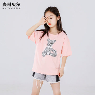 麦科贝尔女童短袖t恤纯棉中大童女孩夏装体恤衫儿童夏季童装上衣