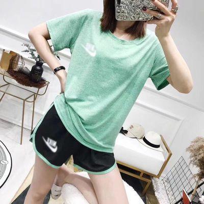新速干衣女运动套装小雏菊瑜伽女套装跑步健身短袖2件套装宽松T恤
