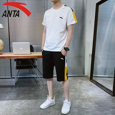40000/男士夏季新款套装运动休闲圆领短袖短裤纯棉两件套跑步打篮球套装