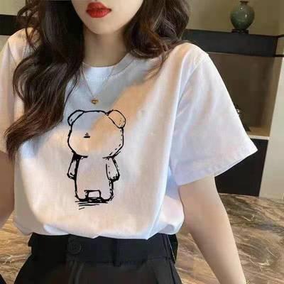 【两件装】纯棉短袖t恤女夏季韩版2021新款学生圆领时尚简约上衣
