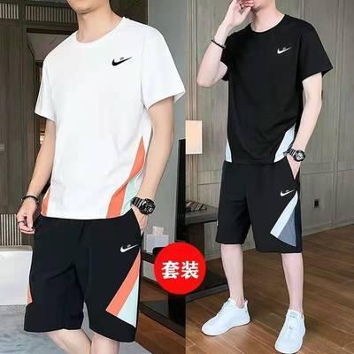 男士短袖t恤夏季潮流宽松大码休闲冰丝运动套装跑步健身速干衣服