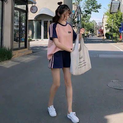 35956/夏季新款单件/运动服套装宽松洋气韩版短袖短裤跑步休闲两件套女