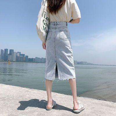 14005/浅色牛仔半身裙女中长款2021年新款小个子春夏a字包臀高腰一步裙